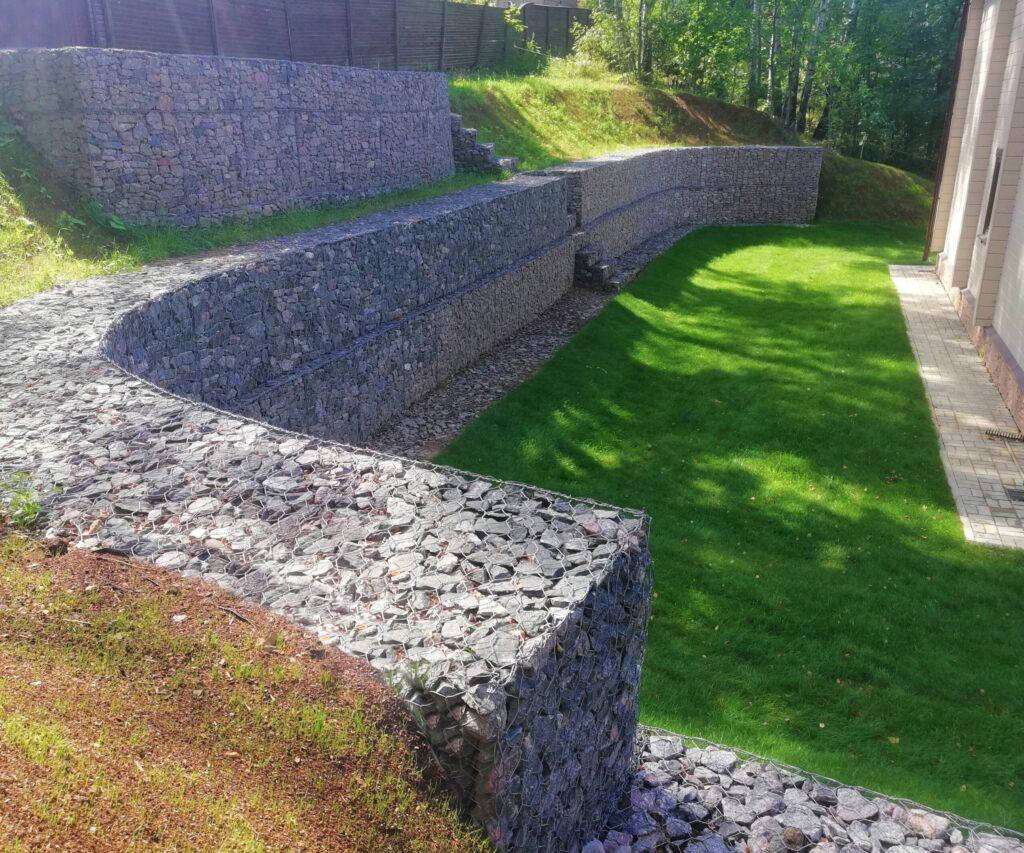 Строительство подпорных стен,Монтаж подпорных стен,Габионы,Бутовая кладка
