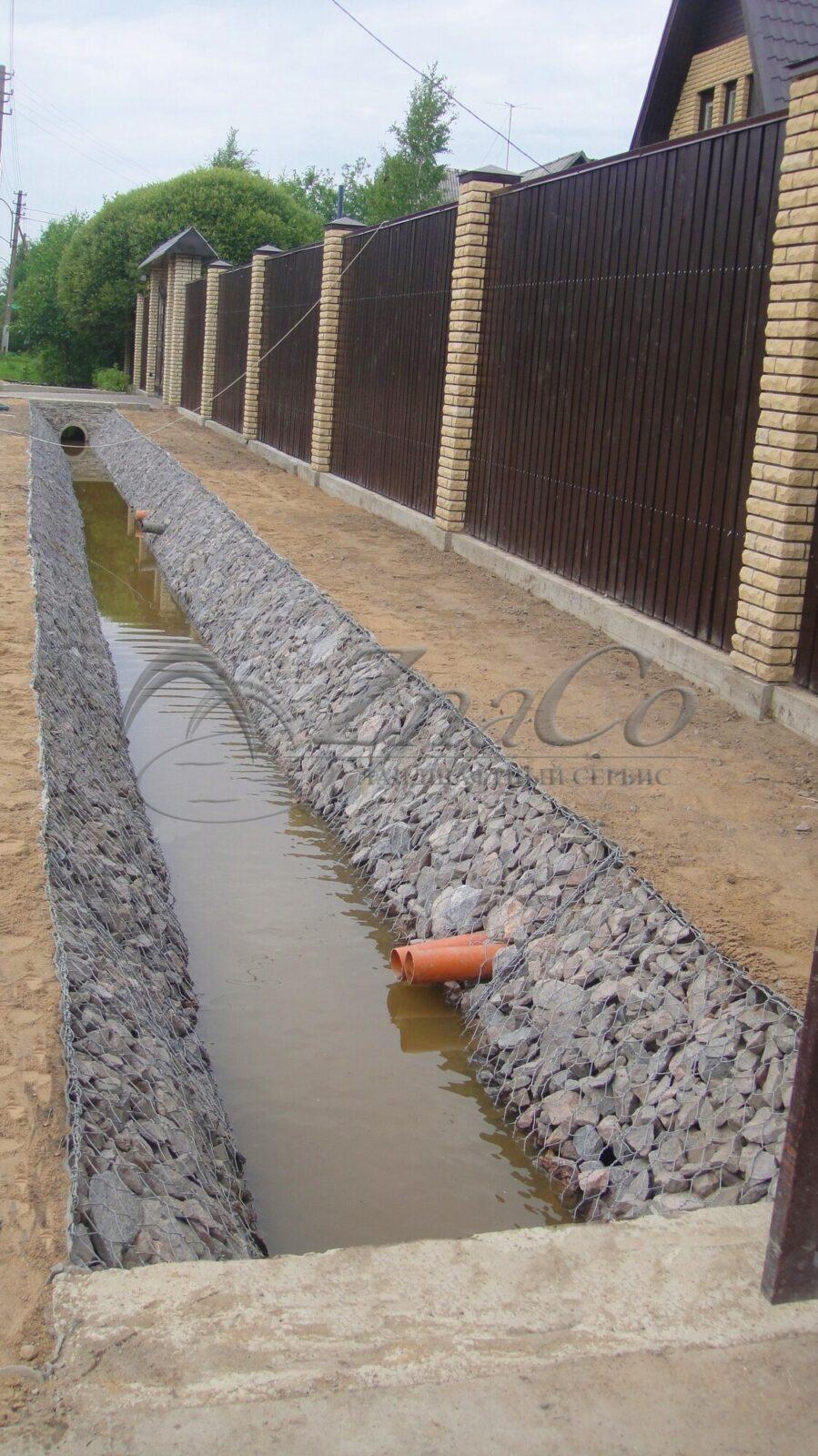Укрепление дренажной канавы габионами ЗнаКо